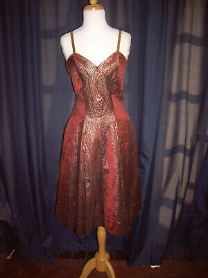 Vintage 50's Brown and Gold Taffeta metallic thread  dress fit and flare small