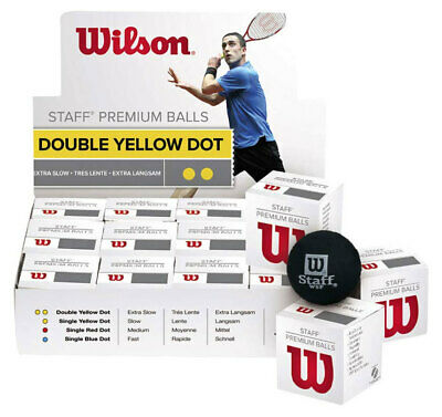 Wilson Premium Staff Squash Balls DOUBLE YELLOW DOT 12 Pack - WSF Approved