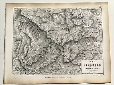 1813 Map Of PYRENEES, Original 1850 Antique Campaign War Map, W & AK Johnston