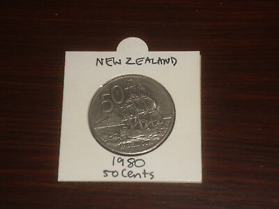 1980 New Zealand 50 Cent coin Kiwi fifty cents NZ