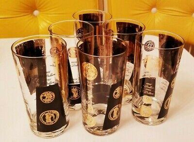 6 Vintage Cera Black Gold Coin Drinking Glasses Tumblers