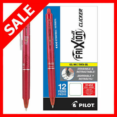 ~SALE~Pilot Frixion Ball Clicker 0.7 Retractable Erasable Ink Gel Pen,12ct Red