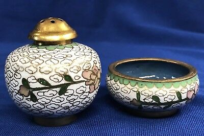 Vintage Chinese Cloisonné Salt Cellar and Pepper Shaker - Pink & Green on White