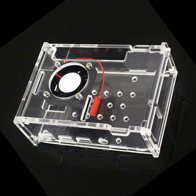 Transparent Acrylic Shell Protective Case Box W/ Cooling Fan For Raspberry Pi 4B
