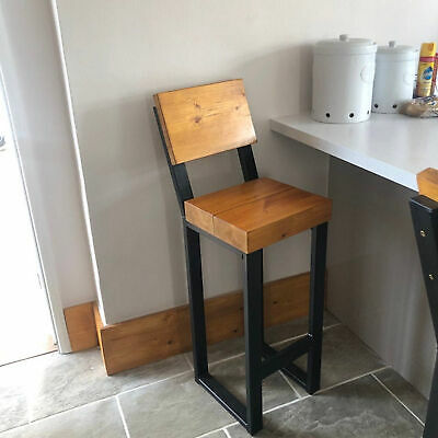 Industrial Rustic Bar Stools Leather Seat Vintage Breakfast Cafe Kitchen Chairs