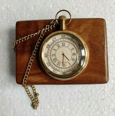 Vintage Brass Pocket Watch With Wooden Box Nautical Maritime Royal Clock Antique