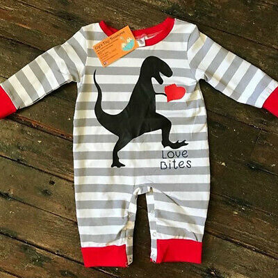 Newborn Baby Girl Boy Dinosaur Romper Bodysuit Jumpsuit Playsuit Striped Clothes