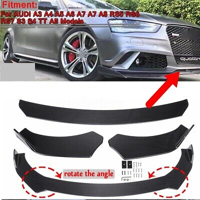 Carbon Fiber Look Front Bumper Lip Splitters For AUDI A3 A4 A5 A6 A7 A7 A8 Q3 Q5