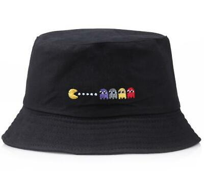 New Quality Pacman Vintage Retro Embroidered BLACK Cotton BUCKET HAT