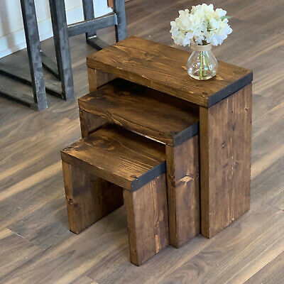 3x Rustic Nest of Tables Solid Wood Country Style Side Table Industrial Chic