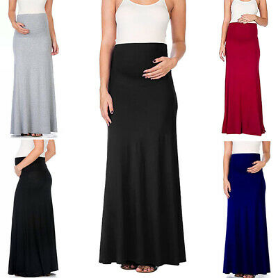 Women Pregnant High Waist Long Maxi Skirt Solid Color Plain Casual Holiday Party