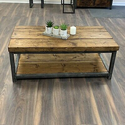 Heavy Coffee Table Solid Wood Rustic Handmade Pine Industrial Welded Frame Chic