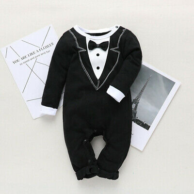 Baby Kids Boys Formal Suit Party Wedding Tuxedo Gentleman Romper Jumpsuit Outfit