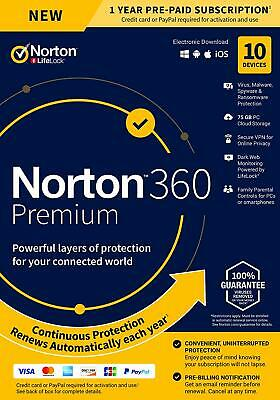 Norton 360 Premium 2020 10 Devices 10 PC 1Year Secure VPN Internet Security 2019