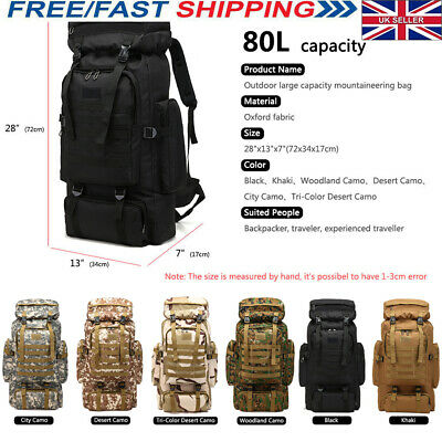 80L Large Oxford fabric Camping Backpack Travel Hiking Rucksack Luggage Bag New
