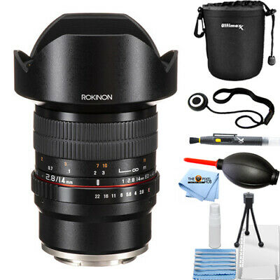 Rokinon 14mm f/2.8 ED AS IF UMC Lens for Sony E-Mount FE14M-E Lens Pouch Bundle