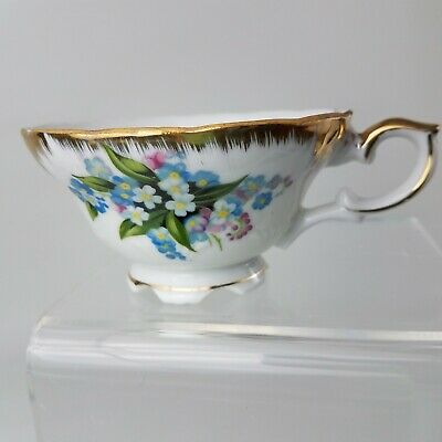 Bone China Tea Cup White Colorful Flowers Gold Trim - Collectible Made in Japan