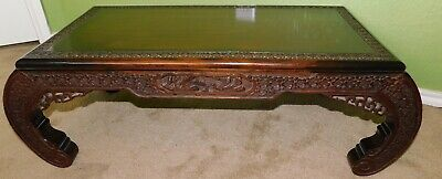 ATQ 1920's JL GEORGE Chinese Heavy Carved SHIPS FLOWERS Rosewood Hoof Tea Table