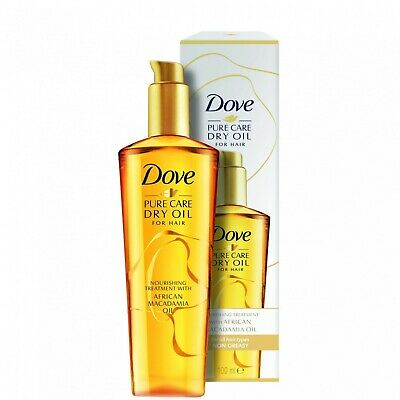 2x Dove Pure Care Dry Oil for Hair With Macadamia Oil - For All Hair Types 100ml