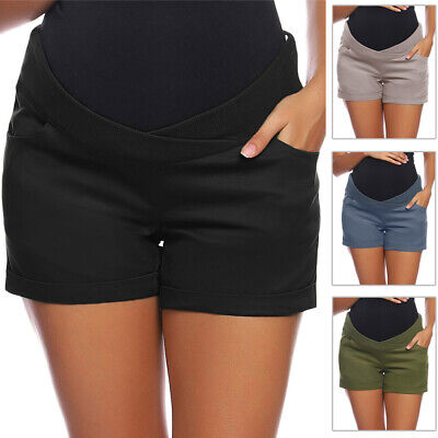 Womens Shorts Ladies Pregnant Low-rise Elastic Casual With pocket Solid Vintage