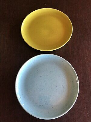 "Pair 9.25"" Metlox Modern Poppy Trail California Pottery Dinner Plates"