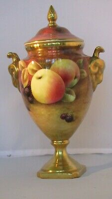 COALPORT HAND PAINTED LIDDED VASE BY R. Budd