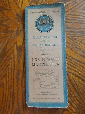 Vintage Ordnance Survey Quarter Inch Map 4th.Ed. N. Wales & Manchester Sheet 4