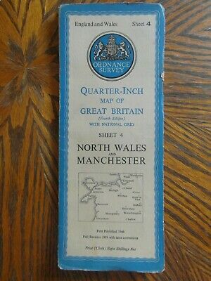Vintage Ordnance Survey Quarter Inch Map 4th.Ed. N.Wales & Manchester Sheet 4