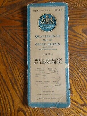 Vintage Ordnance Survey Quarter Inch Map 4th.Ed.19 N. Midlands & Lincolnshire