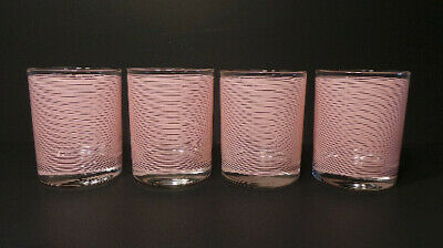 Mid Century Cera Light Pink Striped Cocktail/ Drinking Glasses Set of 4