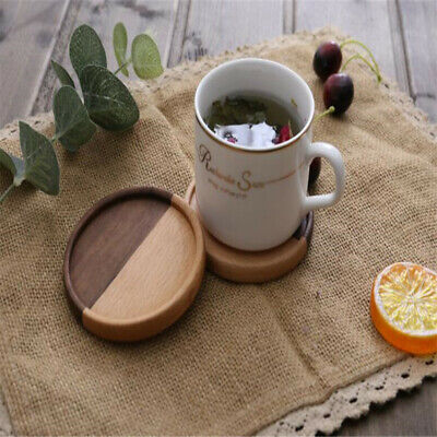 Wooden Round Heat Insulation Tea Coffee Cup Holder Mats Drinks Placemat Tool H