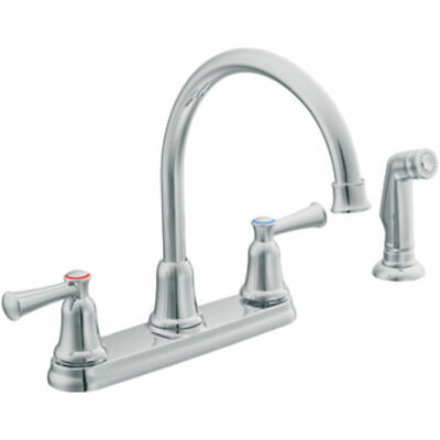 Moen CFG CA41613 Capstone Two-Handle Kitchen Faucet with Side Spray (Chrome)
