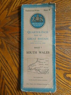 Vintage Ordnance Survey Quarter Inch Map 4th.Edition 1946 South Wales Sheet 7