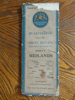 Vintage Ordnance Survey Quarter Inch Map of GB. 4th.Ed.1946 Midlands. Sheet 8