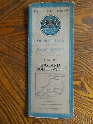 Vintage Ordnance Survey Quarter Inch Map 4th.Ed.1946 England South-West Sheet 10
