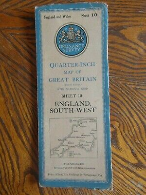 Vintage Ordnance Survey Quarter Inch Map 4th.Ed.1946 England South West Sheet 10