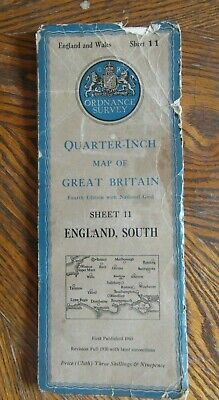 Vintage Ordnance Survey Quarter Inch Map 4th.Ed.1945 England South Sheet 11