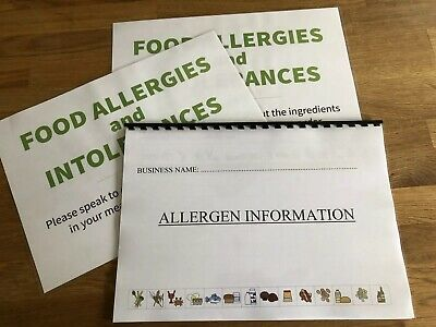 Allergen Matrix Information Pack And Signs Allergies FSA Food Business