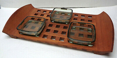 Dansk Denmark Jens Quistgaard JHQ Teak Lattice Tray With 3 Smoked Glass Inserts!