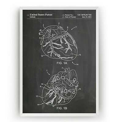 Anatomical Heart Patent Print Poster Doctor Medical Student Art Gift - Unframed