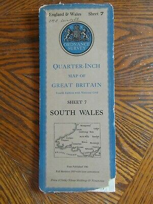 Vintage Ordnance Survey Quarter Inch Map 4th.Ed.1946 South Wales Sheet 7