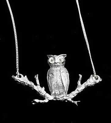 LOOK Owl Necklace Tree Branch Sterling Silver pendant charm