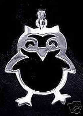 LOOK Real Sterling Silver adorable Owl Pendant Charm Jewelry