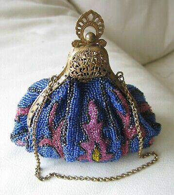Antique Art Nouveau Victorian Gold T Filigree Frame Blue Pink Bead Puffy Purse