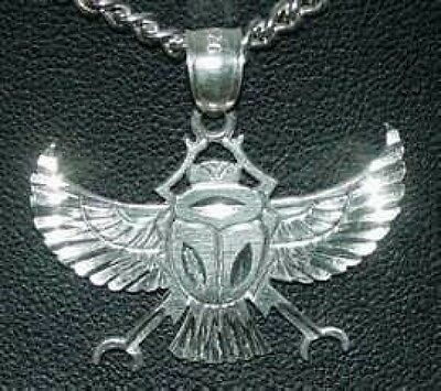 LOOK Egyptian Pendant Charm Sterling silver .925 SCARAB BEETLE Symbol Egypt Jewe