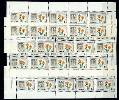 Weeda Canada 425 VF MNH M/S of blocks of 10, 1965 issue CV $14