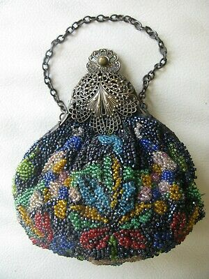 Antique Art Nouveau Victorian Gold T Filigree Frame Floral Bead Puffy Purse