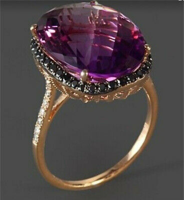 18K Rose Gold Plated Alexandrite Gemstone Ring Women Wedding Jewelry Size 6-10