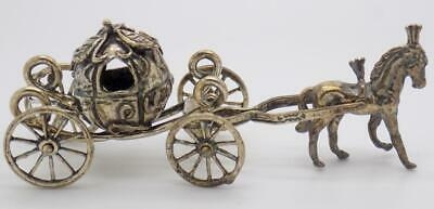 Vintage Solid Silver Italian Made Princess Carriage Miniature Figurine Hallmarks