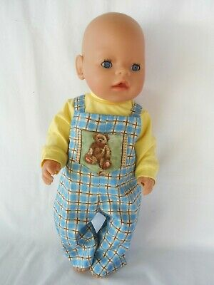 Handmade dolls clothes (Overalls, T-shirt set) fit 40-43cm 17in. Baby Born doll